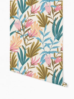 Hello Sticky - Shop - Peel &Amp; Stick Removable Wallpaper - Fruity &Amp; Floral Wallpaper - Youthful Greenery - Roll 1 View