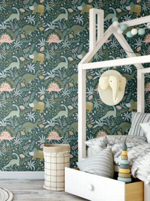 Hello Sticky - Shop - Peel & Stick Removable Wallpaper - Kids Wallpaper - Jurassic Jungle - Main View