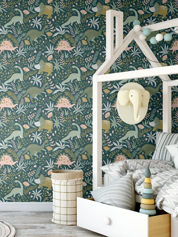 Hello Sticky - Shop - Peel &Amp;Amp; Stick Removable Wallpaper - Kids Wallpaper - Jurassic Jungle - Main View