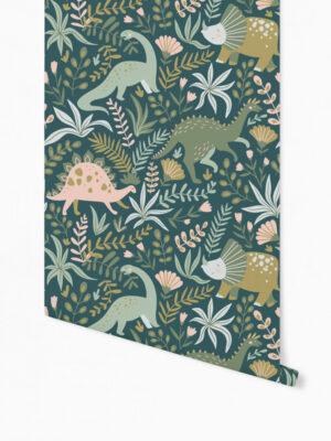 Hello Sticky - Shop - Peel &Amp; Stick Removable Wallpaper - Kids Wallpaper - Jurassic Jungle - Roll 1 View