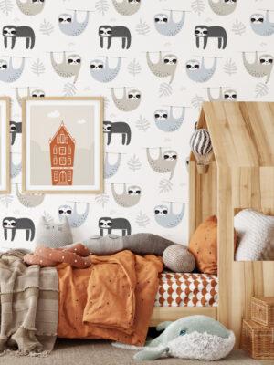 Hello Sticky - Shop - Peel & Stick Removable Wallpaper - Kids Wallpaper - Sleepy Sloth - Main View