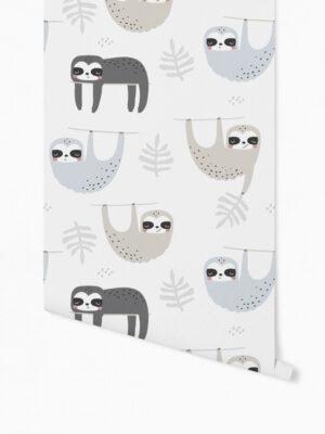 Hello Sticky - Shop - Peel &Amp; Stick Removable Wallpaper - Kids Wallpaper - Sleepy Sloth - Roll 1 View