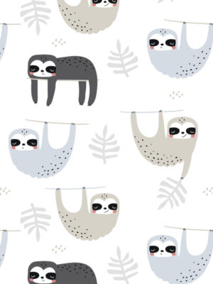 Hello Sticky - Shop - Peel &Amp; Stick Removable Wallpaper - Kids Wallpaper - Sleepy Sloth - Zoomed In View