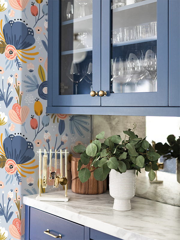 Hello Sticky - Shop - Peel &Amp;Amp; Stick Removable Wallpaper - Fruity &Amp;Amp; Floral Wallpaper - Blue Botanical - Main View