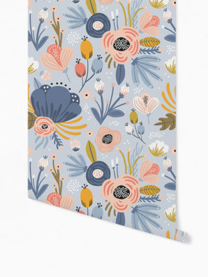 Hello Sticky - Shop - Peel &Amp; Stick Removable Wallpaper - Fruity &Amp; Floral Wallpaper - Blue Botanical - Roll 1 View