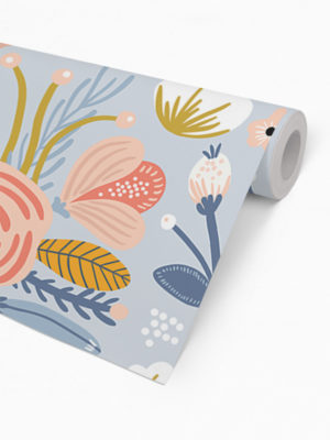 Hello Sticky - Shop - Peel &Amp; Stick Removable Wallpaper - Fruity &Amp; Floral Wallpaper - Blue Botanical - Roll 2 View
