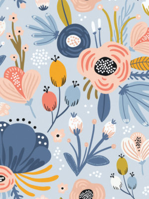 Hello Sticky - Shop - Peel &Amp; Stick Removable Wallpaper - Fruity &Amp; Floral Wallpaper - Blue Botanical - Zoomed In View