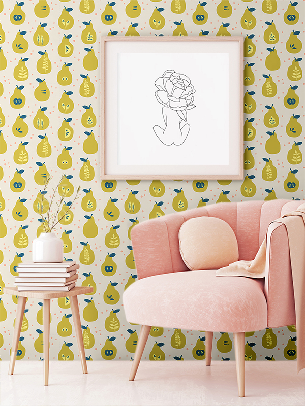 Hello Sticky - Shop - Peel &Amp;Amp; Stick Removable Wallpaper - Fruity &Amp;Amp; Floral Wallpaper - Pearfect Pears - Main View
