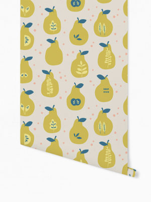 Hello Sticky - Shop - Peel &Amp; Stick Removable Wallpaper - Fruity &Amp; Floral Wallpaper - Pearfect Pears - Roll 1 View