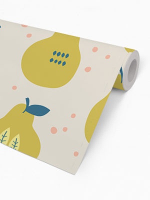 Hello Sticky - Shop - Peel &Amp; Stick Removable Wallpaper - Fruity &Amp; Floral Wallpaper - Pearfect Pears - Roll 2 View
