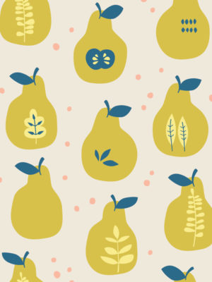 Hello Sticky - Shop - Peel &Amp; Stick Removable Wallpaper - Fruity &Amp; Floral Wallpaper - Pearfect Pears - Zoomed In View