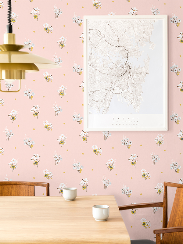 Hello Sticky - Shop - Peel &Amp;Amp; Stick Removable Wallpaper - Fruity &Amp;Amp; Floral Wallpaper - Perfectly Pink - Main View