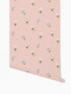 Hello Sticky - Shop - Peel &Amp; Stick Removable Wallpaper - Fruity &Amp; Floral Wallpaper - Perfectly Pink - Roll 1 View
