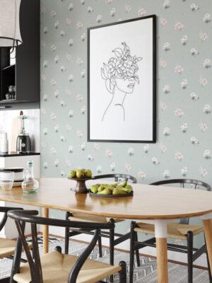 Hello Sticky - Shop - Peel & Stick Removable Wallpaper - Fruity & Floral Wallpaper - Soft Seafoam - Main View