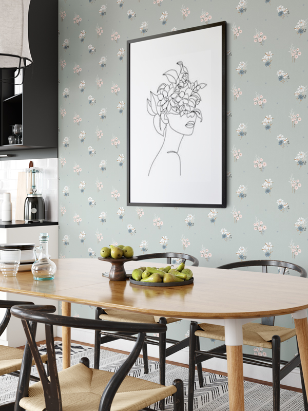 Hello Sticky - Shop - Peel &Amp;Amp; Stick Removable Wallpaper - Fruity &Amp;Amp; Floral Wallpaper - Soft Seafoam - Main View