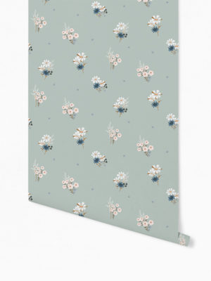Hello Sticky - Shop - Peel &Amp; Stick Removable Wallpaper - Fruity &Amp; Floral Wallpaper - Soft Seafoam - Roll 1 View