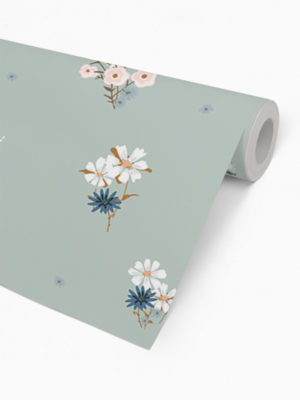 Hello Sticky - Shop - Peel &Amp; Stick Removable Wallpaper - Fruity &Amp; Floral Wallpaper - Soft Seafoam - Roll 2 View