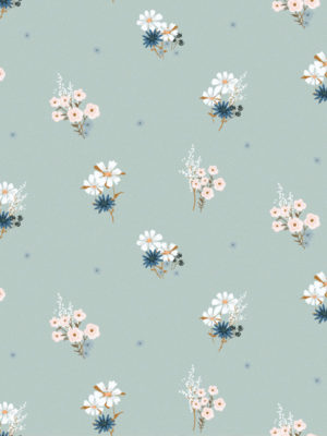 Hello Sticky - Shop - Peel &Amp; Stick Removable Wallpaper - Fruity &Amp; Floral Wallpaper - Soft Seafoam - Zoomed In View