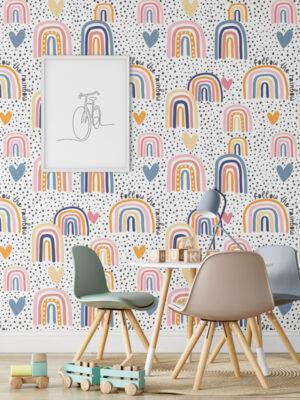 Hello Sticky - Shop - Peel & Stick Removable Wallpaper - Kids Wallpaper - Follow The Rainbow - Main View