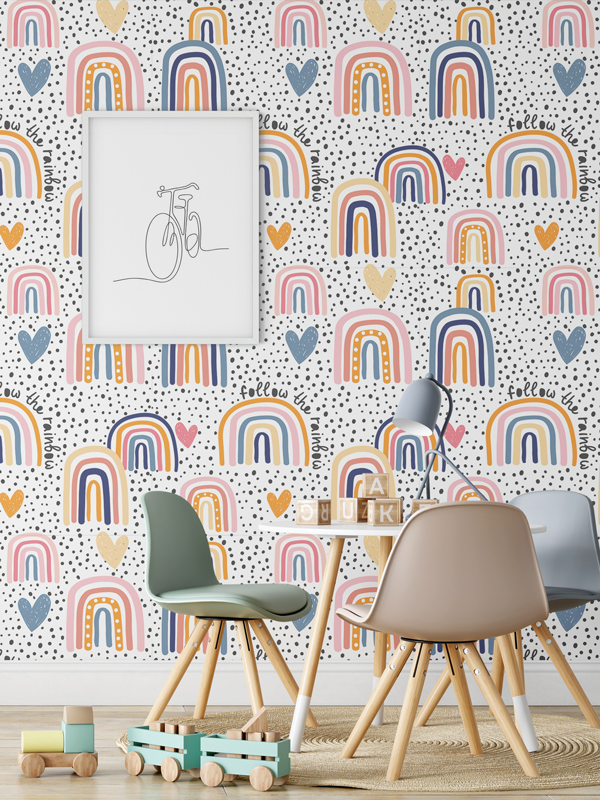 Hello Sticky - Shop - Peel &Amp;Amp; Stick Removable Wallpaper - Kids Wallpaper - Follow The Rainbow - Main View
