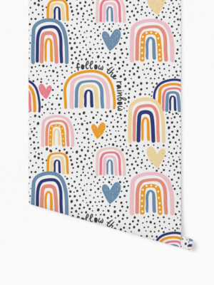 Hello Sticky - Shop - Peel &Amp; Stick Removable Wallpaper - Kids Wallpaper - Follow The Rainbow - Roll 1 View