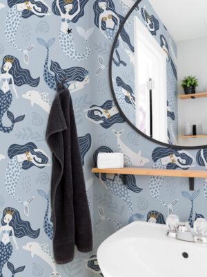 Hello Sticky - Shop - Peel & Stick Removable Wallpaper - Kids Wallpaper - Magical Mermaids - Main View