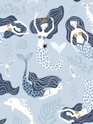 Hello Sticky - Shop - Peel &Amp; Stick Removable Wallpaper - Kids Wallpaper - Magical Mermaids - Zoomed In View