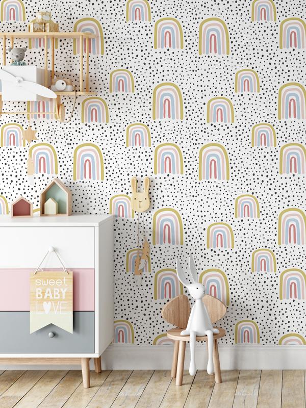 Hello Sticky - Shop - Peel &Amp;Amp; Stick Removable Wallpaper - Kids Wallpaper - Radical Rainbows - Main View