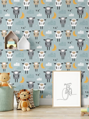 Hello Sticky - Shop - Peel & Stick Removable Wallpaper - Kids Wallpaper - Sleepy Sheep - Main View