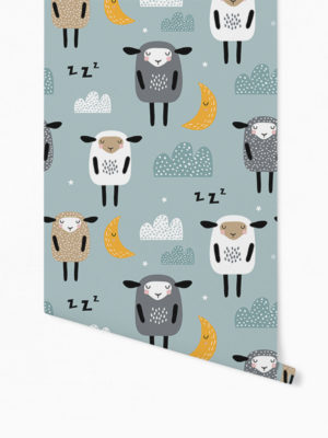 Hello Sticky - Shop - Peel &Amp; Stick Removable Wallpaper - Kids Wallpaper - Sleepy Sheep - Roll 1 View