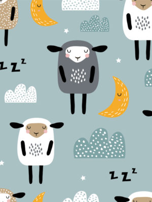 Hello Sticky - Shop - Peel &Amp; Stick Removable Wallpaper - Kids Wallpaper - Sleepy Sheep - Zoomed In View