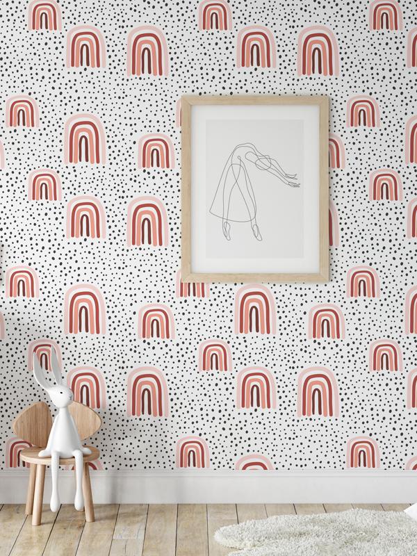 Hello Sticky - Shop - Peel &Amp;Amp; Stick Removable Wallpaper - Kids Wallpaper - Terracotta Rainbows - Main View