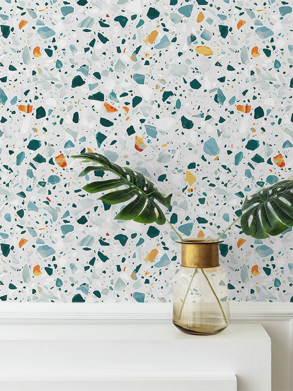 Hello Sticky - Shop - Peel &Amp;Amp; Stick Removable Wallpaper - Stripe, Spot &Amp;Amp; Dot Wallpaper - Emerald Terrazzo - Main View