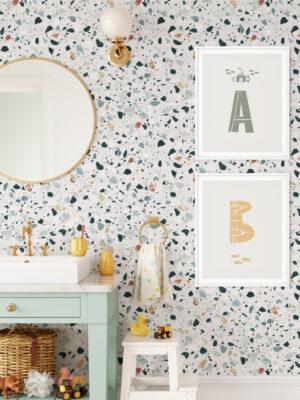 Hello Sticky - Shop - Peel & Stick Removable Wallpaper - Stripe, Spot & Dot Wallpaper - Gem Terrazzo - Main View