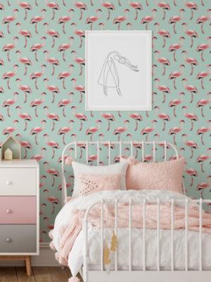 Hello Sticky - Shop - Peel & Stick Removable Wallpaper - Urban Jungle Wallpaper - Fantastically Flamingos - Main View