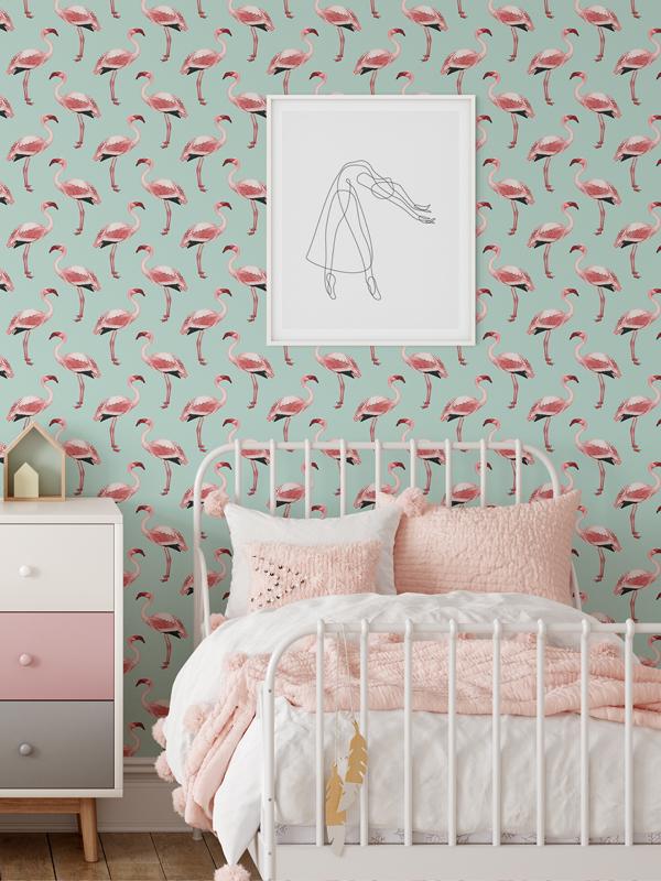 Hello Sticky - Shop - Peel &Amp;Amp; Stick Removable Wallpaper - Urban Jungle Wallpaper - Fantastically Flamingos - Main View