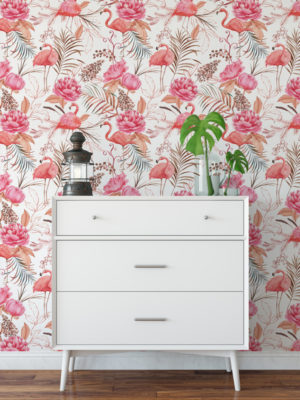 Hello Sticky - Shop - Peel & Stick Removable Wallpaper - Urban Jungle Wallpaper - Flamingos - Main View