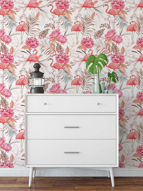 Hello Sticky - Shop - Peel &Amp;Amp; Stick Removable Wallpaper - Urban Jungle Wallpaper - Flamingos - Main View