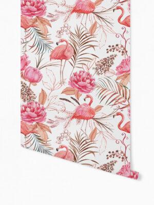 Hello Sticky - Shop - Peel &Amp; Stick Removable Wallpaper - Urban Jungle Wallpaper - Flamingos - Roll 1 View