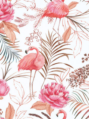 Hello Sticky - Shop - Peel &Amp; Stick Removable Wallpaper - Urban Jungle Wallpaper - Flamingos - Zoomed In View