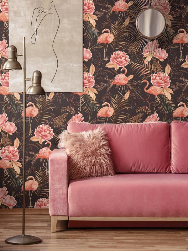 Hello Sticky - Shop - Peel &Amp;Amp; Stick Removable Wallpaper - Urban Jungle Wallpaper - Midnight Flamingos - Main View