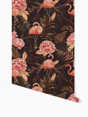 Hello Sticky - Shop - Peel &Amp; Stick Removable Wallpaper - Urban Jungle Wallpaper - Midnight Flamingos - Roll 1 View
