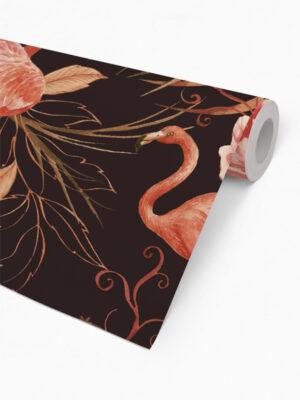 Hello Sticky - Shop - Peel &Amp; Stick Removable Wallpaper - Urban Jungle Wallpaper - Midnight Flamingos - Roll 2 View
