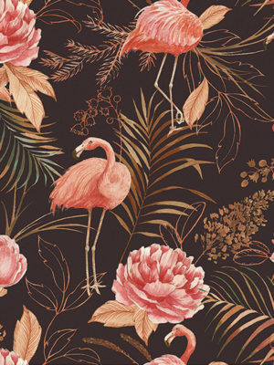 Hello Sticky - Shop - Peel &Amp; Stick Removable Wallpaper - Urban Jungle Wallpaper - Midnight Flamingos - Zoomed In View