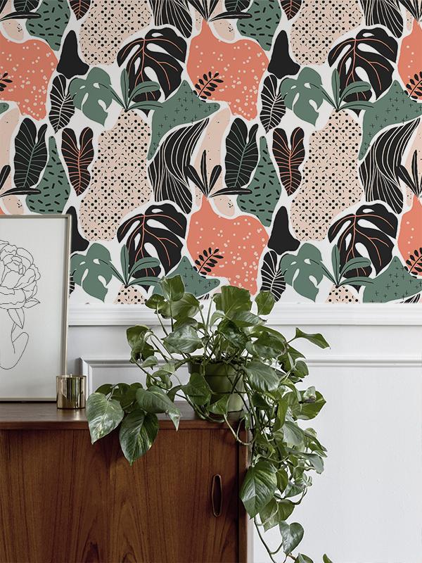 Hello Sticky - Shop - Peel &Amp;Amp; Stick Removable Wallpaper - Urban Jungle Wallpaper - Modern Palms - Main View