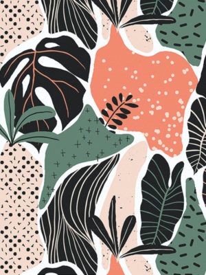 Hello Sticky - Shop - Peel &Amp; Stick Removable Wallpaper - Urban Jungle Wallpaper - Modern Palms - Zoomed In View