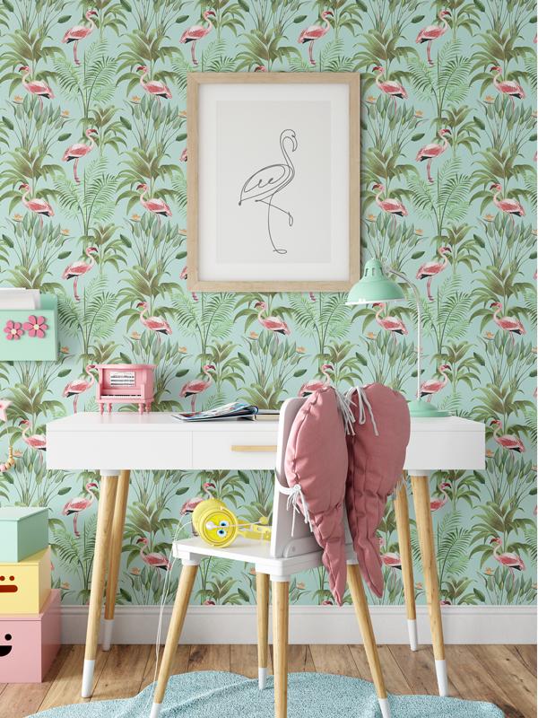 Hello Sticky - Shop - Peel &Amp;Amp; Stick Removable Wallpaper - Urban Jungle Wallpaper - Seafoam Flamingos - Main View
