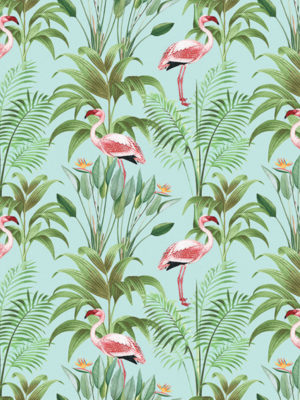 Hello Sticky - Shop - Peel &Amp; Stick Removable Wallpaper - Urban Jungle Wallpaper - Seafoam Flamingos - Zoomed In View