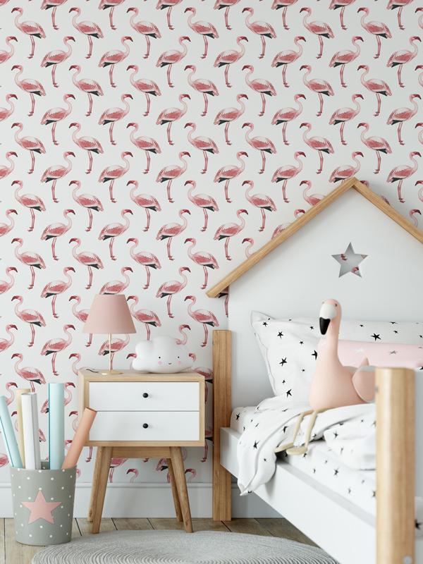 Hello Sticky - Shop - Peel &Amp;Amp; Stick Removable Wallpaper - Urban Jungle Wallpaper - Simply Flamingos - Main View