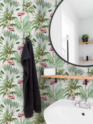 Hello Sticky - Shop - Peel & Stick Removable Wallpaper - Urban Jungle Wallpaper - Tropical Flamingos - Main View